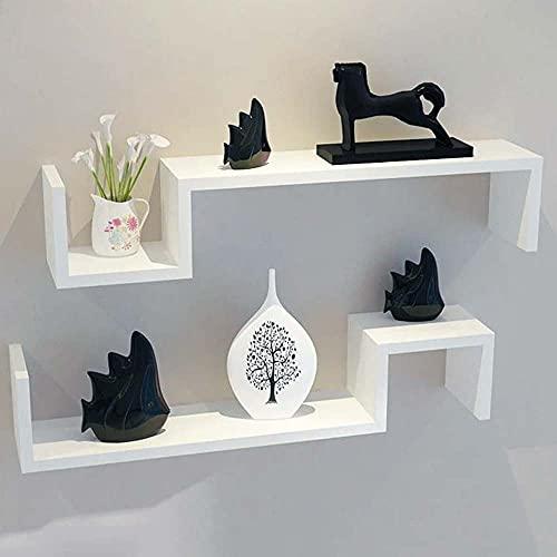 BAKAJI Set 2 Mensole da Parete Design Moderno Scandinavo Mensola Scaffale 2 Ripiani in Legno MDF Dimension 58 x 12 x 10 cm Arredamento Decorazione Casa (Bianco)