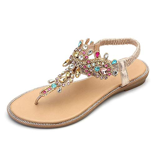 QLIGHA Sandalias Zapatos de Mujer Cadenas de Diamantes de imitación Tanga Sandalias Planas de Gladiador Sandalias de Diamantes de imitación para Adultos