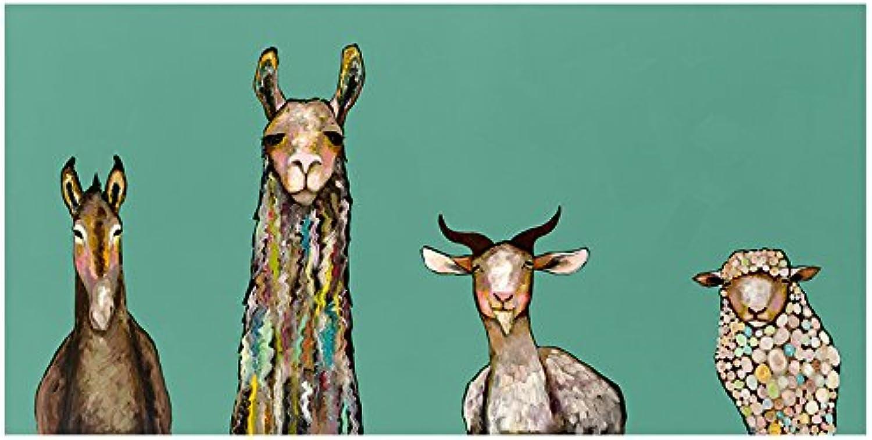 GreenBox Art + Culture Donkey, Llama, Goat, Sheep on Teal by Eli Halpin Canvas Wall Art, 36  x 18