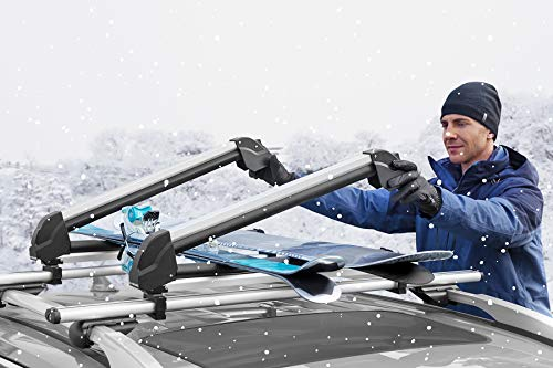 MaxKare Ski & Snowboard Car Racks Universal for 6 Pairs Skis/4 Snowboards Aviation Aluminum Resistant to -60°C Upgraded Ski Rack 33inch Fit Wing/Oblate/Square Crossbars
