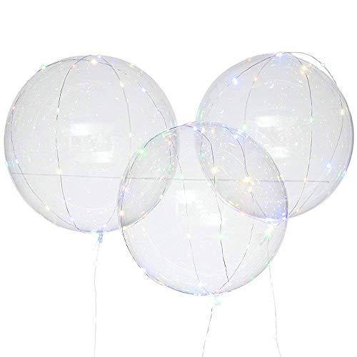 WARMWORD Reutilizable Globo Led Luminoso Transparente Redondo Burbuja para decoración Partido Boda, Bar, KTV, Fiesta de cumpleaños, celebración, decoración de Navidad