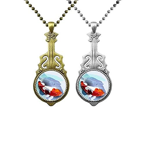 Japanischer Koi-Fisch Aquarell-Stil Musikgitarre Anhänger Schmuck Halskette Anhänger Paar