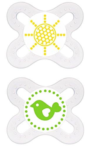 MAM - Start Silikon 0-2, Doppelpack, Neutral - Motiv Sonne+Vogel, BPA frei