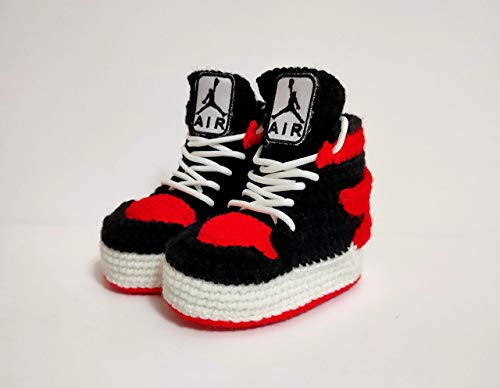 Air Jordan Baby Crochet Sneakers, Custom Newborn Sneakers Shoes, Baby Crib Natural Soft Slippers, Baby Shower Best Gift, Toddler Non-Slip Sole Home Shoes