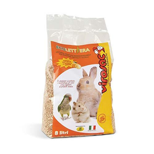 Virosac - Lettiera ecologica, naturale e biodegradabile ideale per roditori, rettili e uccelli - Confezione da 8 lt