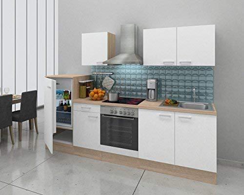 respekta Einbau Küche Küchenzeile Küchenblock 270 cm Eiche Natura Weiss Ceran