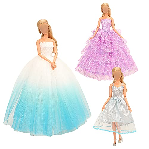 Miunana 3 Hochzeitskleid Kleidung Cinderella Hochzeit Kleider Spitzenkleid Party Gown für 11,5 Zoll Puppen