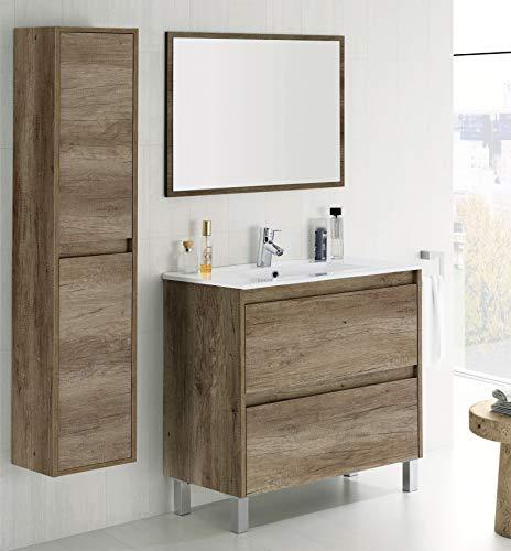 Mueble con lavabo cerámico y columna de dos puertas de Habitmobel