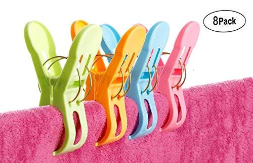 8 clips de plástico para toalla de playa, tamaño grande, duraderos, para colgar toallas, toalleros, soporte de playa, silla de piscina, tumbonas en colores brillantes que evitan que la toalla salga