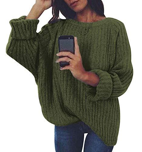Jersey Punto Mujer Sueter Manga Larga Jerseys Grueso De Señora Oversize Jerséis Largo Jerseis Cuello Redondo Chica Sweaters De Mujer Suéter Pullover Tejido Grueso Anchos Amplio Invierno Verde S