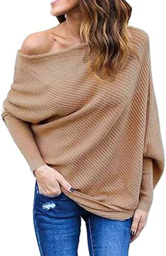 Moceal Donna Felpa Ragazza Sweatshirt Oversize Pullover Invernali Primavera Manica Lunga Casual Moda Girocollo Tops Natale (Cachi, M)