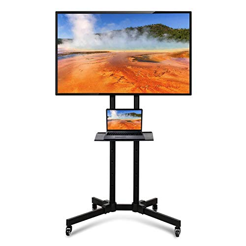 Yaheetech Mobile TV Cart Height Adjustable TV Stand with Mount on Wheels for LCD LED Plasma Flat Screens fits 32 to 70 inch