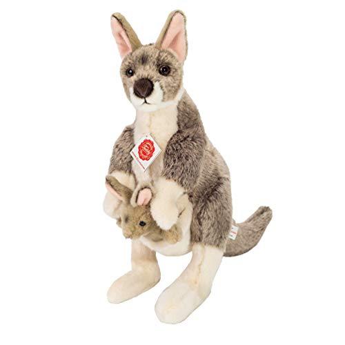 Hermann Teddy- Canguro con Bebé Peluche, Color Gris y marrón (916321)