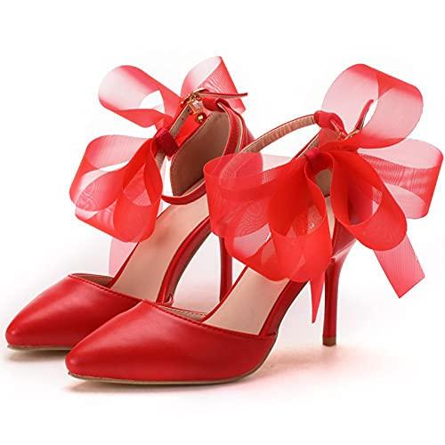 LK-HOME Zapatos De Novia, Zapatos De Boda con Flor De Mariposa Blanca...