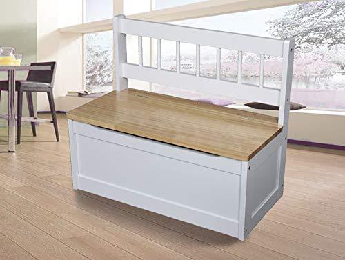 Schauer Indoor Kinder Truhenbank aus Holz braun/weiß 60 x 50 x 30 cm Aufbewahrung Kinderzimmer Ordnung Sitzbank Kiefernholz