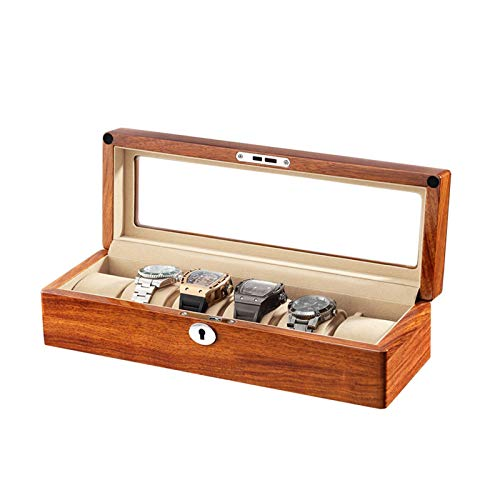 Storage Drawer for Watches and Jewelry 6 Slot Watch Box Watch Organizer Case with Glass Lid Removable Watch Pillow Velvet Lining with Keys for Storage and Display Luxury Storage Case (Color : White)