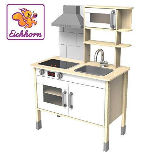 Eichhorn 100002494 - speelkeuken van hout, fornuis met lichtgevende kookplaten, gootsteen, oven en afzuigkap, 36x69x99cm, grenenhout, berkenhout