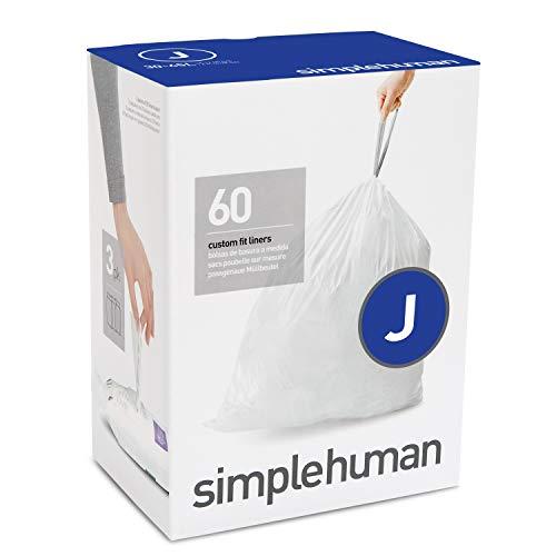 simplehuman Code J Custom Fit Drawstring Trash Bags, 30-45Liter / 8-12 Gallon, 3 Refill Packs (60 Count)