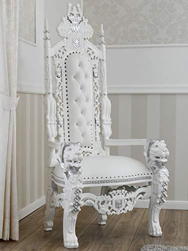 SIMONE GUARRACINO LUXURY DESIGN Trono Lion Estilo Barroco Moderno sillón Color Blanco Lacado Detalles Hoja Plata Eco-Piel Blanca con Piedras y Botones Crystal Sw