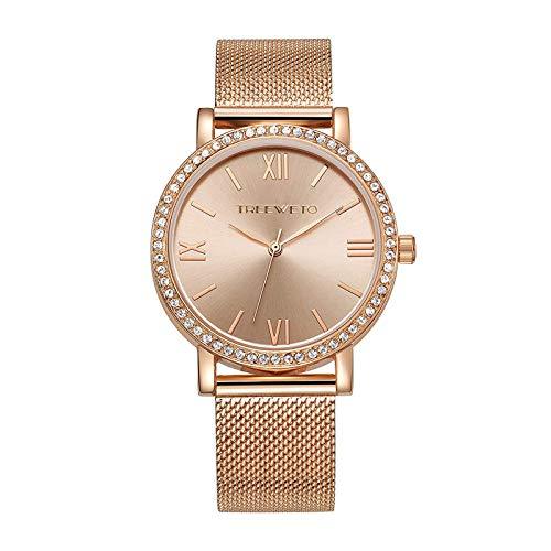 TREEWETO Damen Armbanduhr Kristall Mesh Edelstahl Gürtel Damen Quarz Diamant Klassische Römische Ziffern Rose Gold