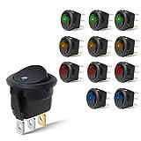 Nilight 90013L - Interruptor LED Redondo de 12 V para Coche, camión, Control de Encendido/Apagado, Color Azul, Verde, Amarillo y Rojo