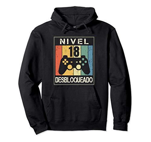 Nivel 18 Desbloqueado Gamer 18 Años 2003 Divertido Chico Sudadera con Capucha