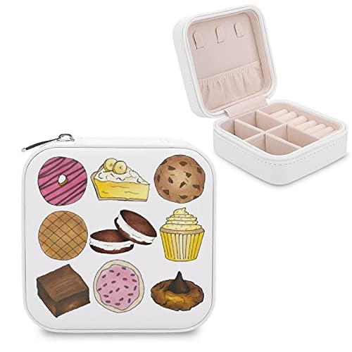Schmuckkästchen für Kekse, Cupcakes, Brownie, Kuchen, Donut-Schmuckschatulle, kleine Schmuckschatulle, Schmuck-Aufbewahrungsbox, Ringe, Ohrringe, Halsketten-Organizer, PU-Leder für Frauen und Mädchen