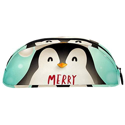 TIZORAX Federmäppchen mit Weihnachtsmütze, Pinguin, Stiftemäppchen, Kosmetiktasche für Teenager, Mädchen, Jungen, Kinder