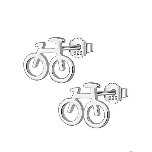 ZWB Schmuck Ohrringe Ohrstecker 925 Silber Frauen Schmuck Mode Nette Kleine 10Mm X 8Mm Fahrrad Ohrstecker Für Tochter Mädchen Schmuck Mädchen Zubehör Einzigartige Party