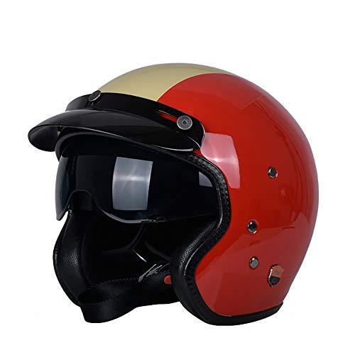 Xwenx FRP Casco de motocicleta – Casco de cara abierta estilo retro para motocicleta, scooter Harley 3/4, casco unisex – Tamaño adulto Cruiser Scooter motocicleta medio casco aprobado por DOT, M