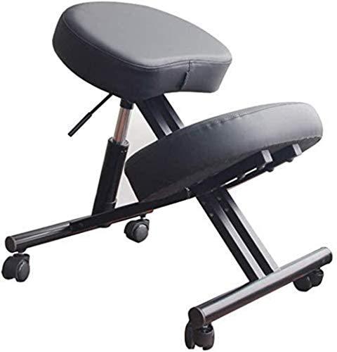 Ergonomischer Kniestuhl Heavy Duty Steel Leder-Kissen-Auflage Rollen Einstellbare Schreibtisch Hocker Haltung verbessern Sessel (Color : Grey)