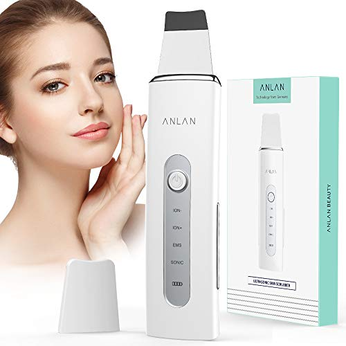Facial Skin Scrubber, ANLAN Face Spatula 4 in 1 Blackhead Remover Pore Cleaner High Frequency Vibration EMS Ionic Electric Face Scrubber USB Rechargeable for Deep Cleansing