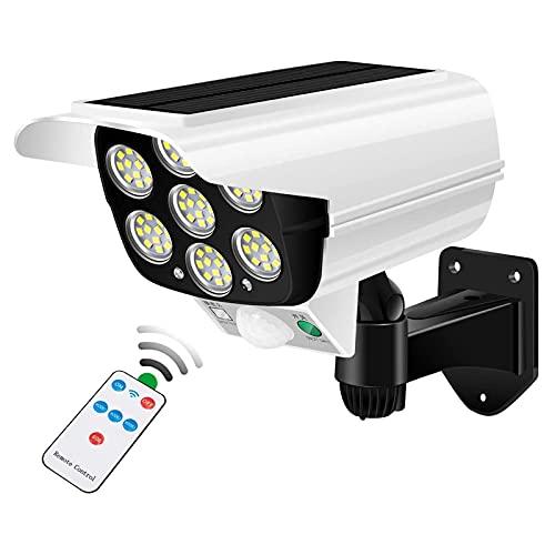 KKmoon Cámaras Falsas Luces Solares LED 2000 Lúmenes 77 Cuentas LED Giratorio de 360 ° de 3 Modos IP65 a Prueba de Agua