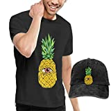 AYYUCY Camisetas y Tops Hombre Polos y Camisas, Novelty Men's Fruit Pineapple T-Shirt and Hats Black