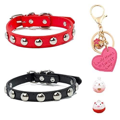 Gousheng halsband voor huisdieren complete set 2 stuks kat halsband voor honden justable 1PC sleutelhanger 1 PC bel voor meiale + 1 stuk kattenblok (maat XL: hals: 37 – 47 cm / 14.56 – 18.5