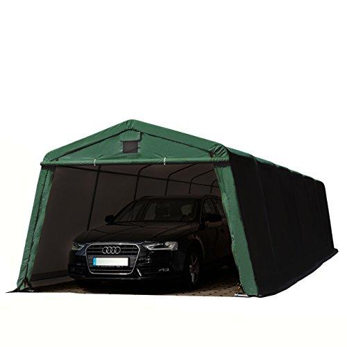 Zeltgarage 3,66 x 9,3 m Weidezelt PREMIUM Carport mit 500 g/m2 PVC Plane in dunkelgrün Unterstand Lagerzelt Garage aus 100% Stahl