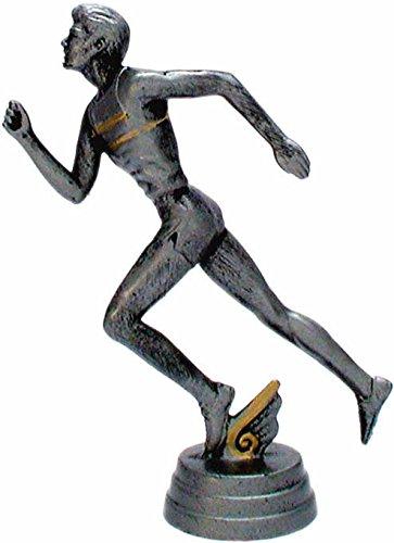 RaRu Leichtathletik-Pokal (Läufer) auf weißem Marmorsockel montiert mit Wunschgravur (34318)