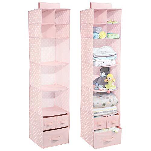 mDesign Juego de 2 organizadores de Tela con 10 apartados – Ideal Organizador de Tela Colgante con Estampado de Puntos estantes Colgantes para la habitación de los niños – Rosa/Blanco