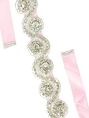 sourcingmap® Frauen Strass Perlen Dekor Satin Band Braut Gürtel Geschenk Gurt rosa
