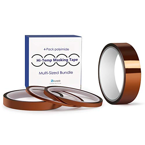 High Temp Tape, ELEGOO 4 Pack Polyimide High Temperature Resistant Tape Multi-Sized Value Bundle 1/8'', 1/4'', 1/2'', 1'' with Silicone Adhesive for Masking, Soldering etc.