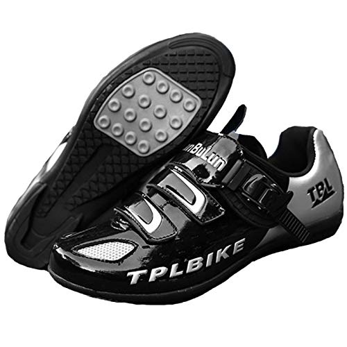 Calzado de Ciclismo para Hombre,Unisex Adulto Calzado para Ciclismo de Montaña Calzado Antideslizante Transpirable para Ciclismo de Interior,Black(Rubber)-EU45