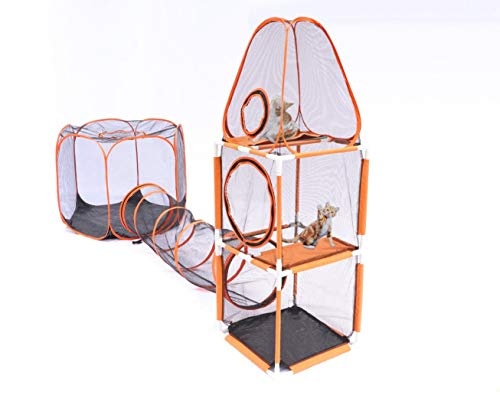 DH HOME 3 in 1 Compound Cat Houses & Condos,Indoor & Outdoor Pet Play House - 3-Levels of Jumping...