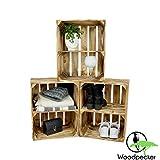 Woodpecker 3er Set Holzkiste Vintage 50x40x30 cm geflammt- Holzkiste mit Ablage/Mittelbrett als Möbelstück, zur Dekoration oder als Regale zu verwenden- Weinkisten, Obstkistenregale für Schuhe