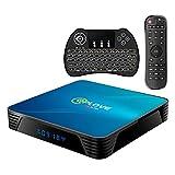 Android TV Box 10.0, Android 10.0 QPLOVE Q8 TV Box RK3318 64bits /4G + 64G con mini teclado WiFi 2.4G / 5GHz, 100M LAN, USB 3.0, BT 4.0, 4K Android Box