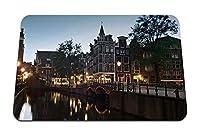22cmx18cm マウスパッド (ストリートアムステルダムオランダチャネルイブニングブリッジ) パターンカスタムの マウスパッド