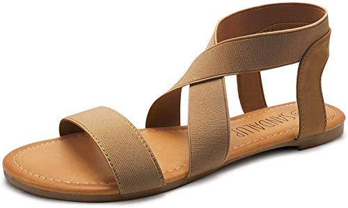 SANDALUP Elastic Ankle Strap Flat Sandals for Women Brown 08