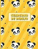 CUADERNO DE DIBUJO: Bloc de 100 paginas en blanco | Libreta infantil para dibujar | Regalo creativo y original para niños | Lindo diseño de animales: osos panda.