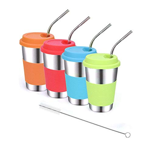 Stainless Steel Kids Cups with Lids and Straws,16oz Spill Proof Kids Tumblers with Straw,18/8 Steel Unbreakable Kids Drinking Glasses with Lid,Metal Sippy Cups with Lid for Kids,Adults