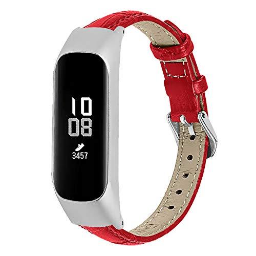 GhrKwiew Galaxy Fit E Bänder für Frauen, Slim Echtes Lederband Ersatz Zubehör Gurt Uhrenarmband für Samsung Galaxy Fit E SM-R375 Fitness Activity Tracker (Rot)