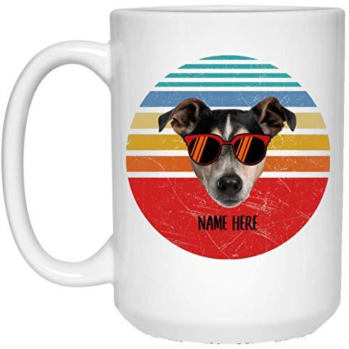 N\A Divertido Jack Russell Terrier Gafas Marrones Sunset Retro Nombre Personalizado Taza de café Blanca